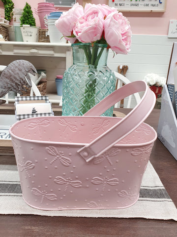 Metal Tote Bucket - Dragonflies