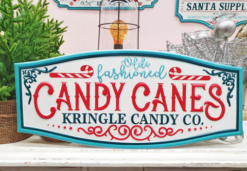 Olde Fashioned Candy Canes Christmas Sign