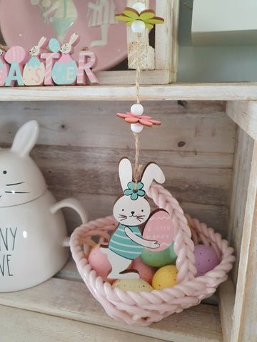 Blue Hanging Bunny Decor