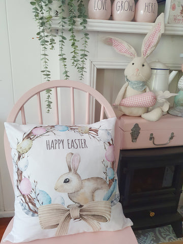 Bunny Egg Wreath Cushion
