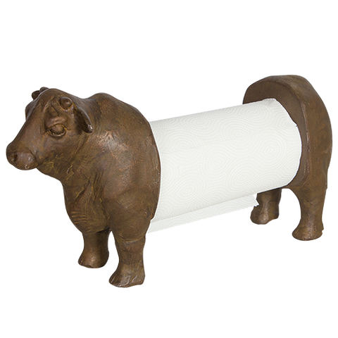 Bronze Angus Cow Paper Towel Holder - Farmhouse and Hound