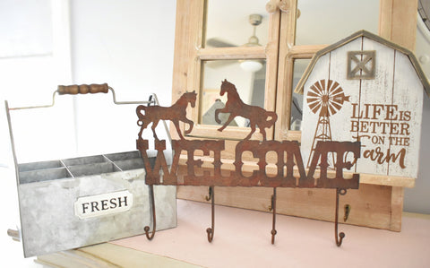 Welcome Sign - Horses - Farmhouse and Hound