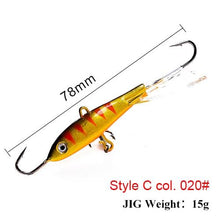 Load image into Gallery viewer, Winter Ice Fishing Lure 3D Eyes Colorful AD-Sharp Winter Lead Jigging Bass Pike Wobbler Bait - everything-fishandhunt.com