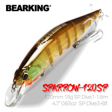 Load image into Gallery viewer, 120mm 18g fishing lures hard bait different colors for choose quality professional minnow - everything-fishandhunt.com