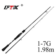 Load image into Gallery viewer, FTK Spinning Fishing Rod 100% Carbon C.W.1-7G, 2-8G, 3-15G, 5-20G,10-30G Surper Hard Fishing Pole 2 Sections Lure Fishing Rod