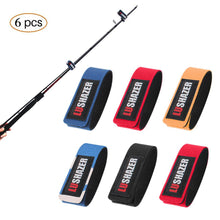 Load image into Gallery viewer, 6Pcs/lot Elastic Fishing Rod Strap Strong Flexible 25*3CM Random Color Delivery
