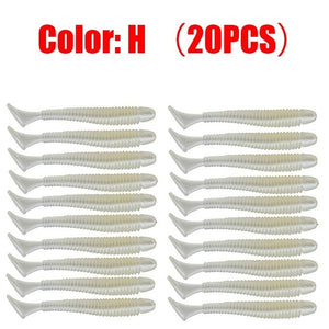 20pcs/Lot Jig Wobblers Fishing Lures 5cm 0.8g Worm Silicone Artificial Soft Bait