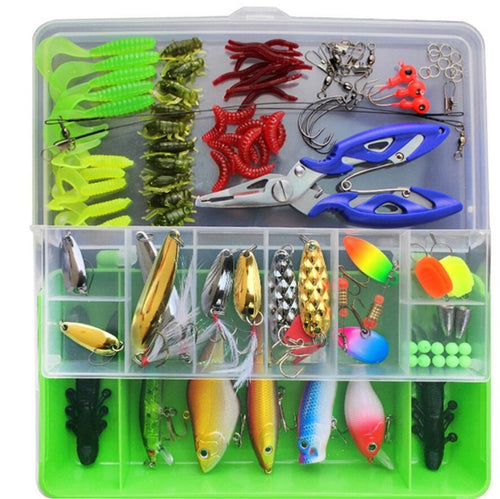 101pcs Trout Bass Fishing Lures Crankbaits Set Kit Soft and Hard Bait Hooks+ Box