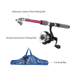 Children's Kids' Fishing Tackle Kit Portable Rod Reel Set with 1.8m Retractable Fishing Bag