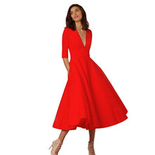 Load image into Gallery viewer, Women V-neck 60s Swing Sleeve Dress