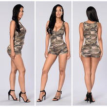 Load image into Gallery viewer, Sexy V-neck sleeveless camouflage shorts jumpsuit