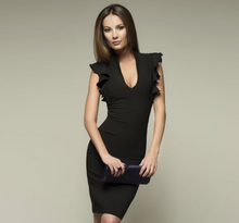 Load image into Gallery viewer, deep V-neck lotus leaf sleeve tight fit dress
