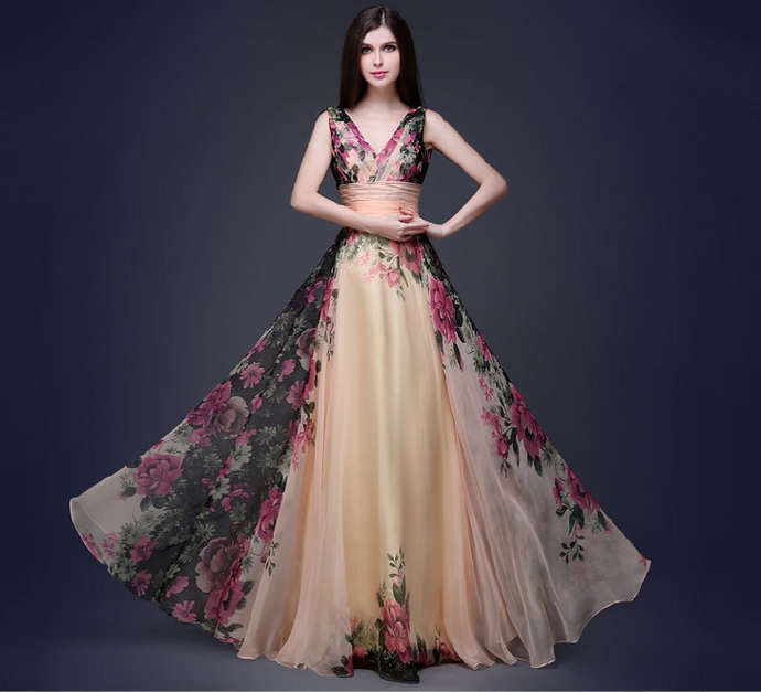 European and American elegant temperament shoulder flower Women's evening dress