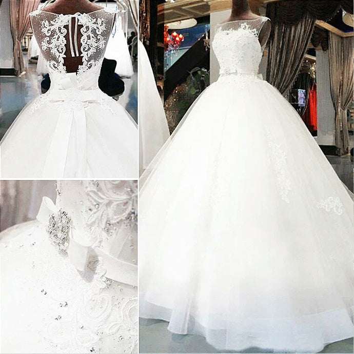 Bride high-end lace hollow big tail wedding dress