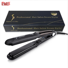 Load image into Gallery viewer, Steam Function Flat Iron Tourmaline Ceramic Vapor Professional Hair Straightener