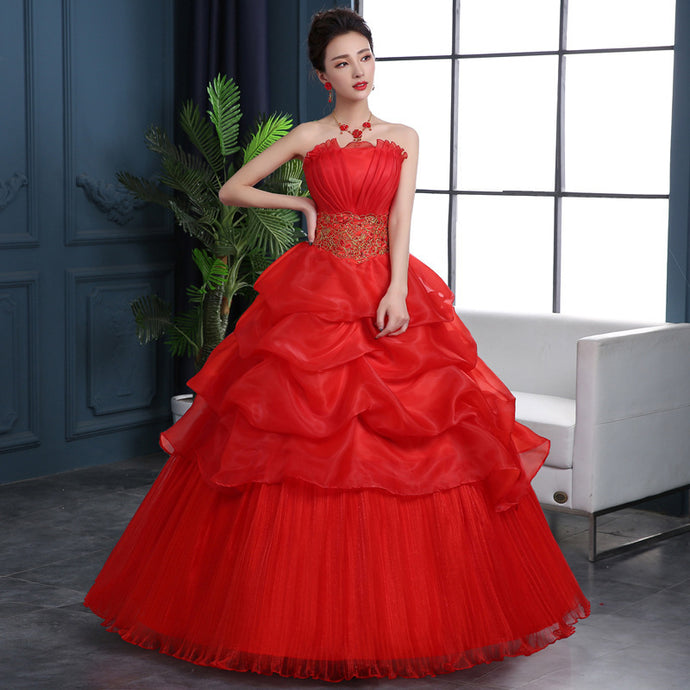 Tube Top Bride Red Wedding Dress Large Size