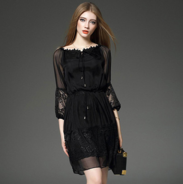 Lace Splicing Chiffon Black Dress