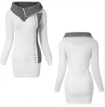 Load image into Gallery viewer, White stitching long sleeve lapel rivet dress