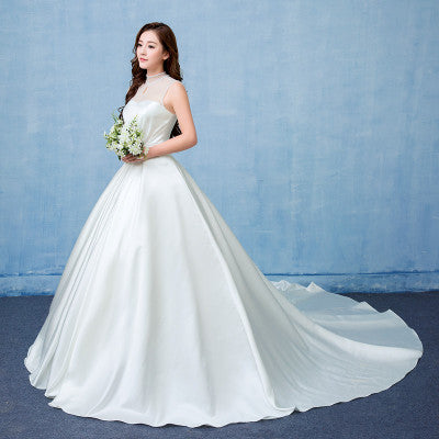Wedding dress satin big tail studio wedding dress