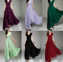 Load image into Gallery viewer, V-neck short-sleeved bohemian chiffon waist dress