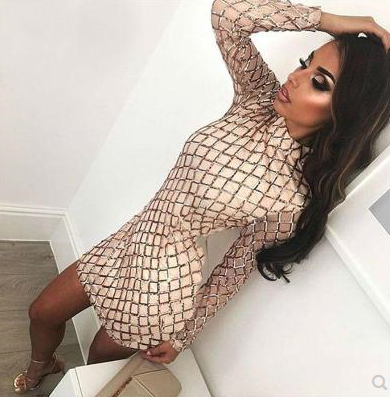 European and American fashion sexy sequins round neck long-sleeved dress nightclub dress