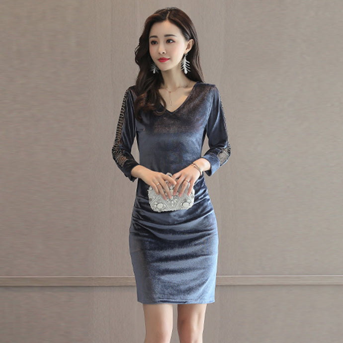 Vintage velvet V collar dress for women