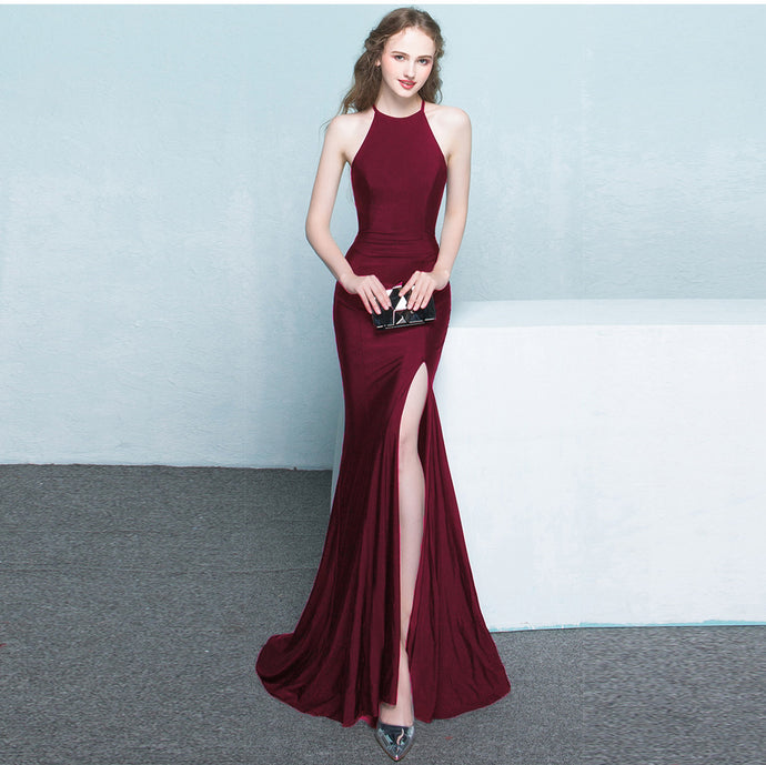 Bride toast long red fishtail hanging neck wedding banquet evening dress