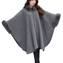 Load image into Gallery viewer, Fashion Women Jacket Casual Woolen Fur Collar Parka Cardigan Cloak Coat