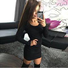 Load image into Gallery viewer, Women Fashion Sexy Solid Long Sleeve Slim Dress