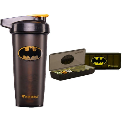 2 Pack Bundle, ACTIV 28oz (800mL) Shaker & 7 Day Pill Container, Batman, Performa Canada