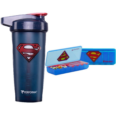 2 Pack Bundle, ACTIV 28oz (800mL) Shaker & 7 Day Pill Container, Superman, Performa Canada