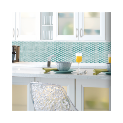 Wallpaper - Blue Mosaic Tile Peel and Stick Backsplash-Flooring Cache