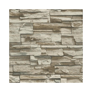 Wallpaper - Stacked Stone Peel and Stick Wallpaper - Brown-Flooring Cache