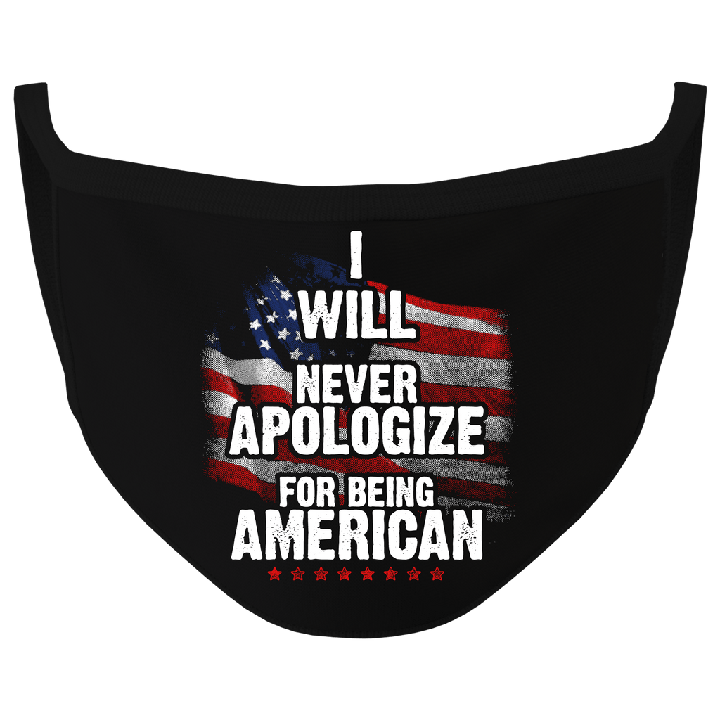 New Black Color Never Apologize Washable Face Mask (O)