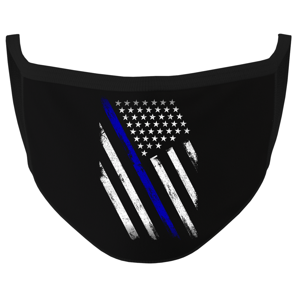 New Black Color Thin Blue Line Washable Face Mask (O)