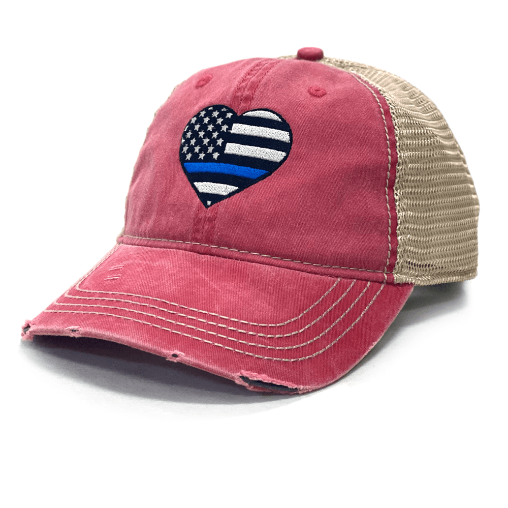 Distressed Thin Blue Line Heart Mesh Back Hat (O)