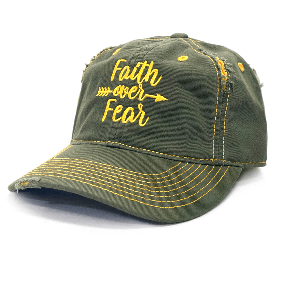 Distressed Olive Faith Over Fear Arrow Hat (O)