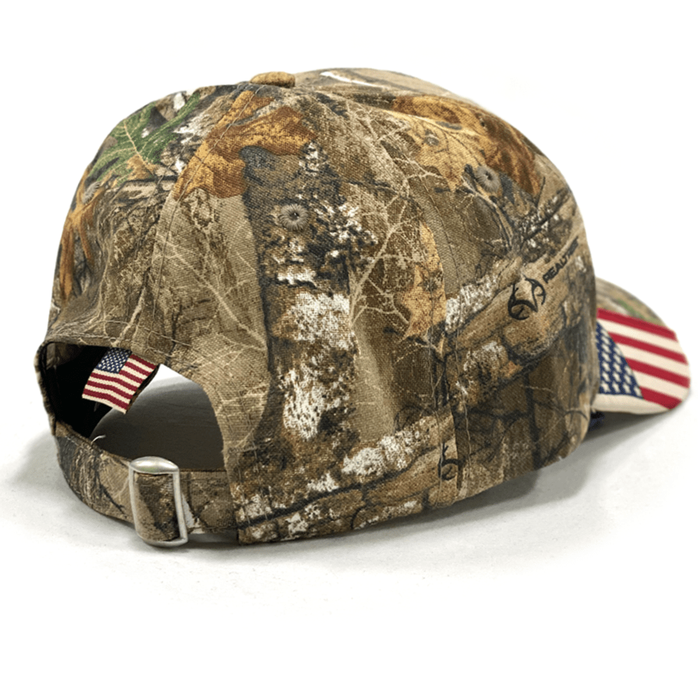 Camo Trump 2024 Realtree Hat With American Flag on Bill (O)
