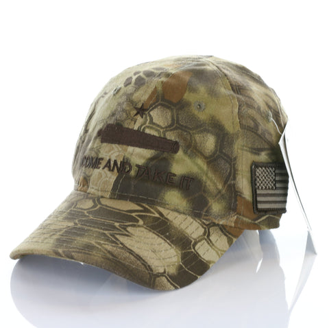 Come And Take It Cannon Weapon American Flag kryptek Authentic Camo Hat