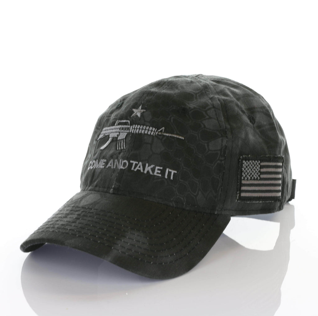 Come and Take it Ar15 American Flag kryptek authentic Camo Hat (O)
