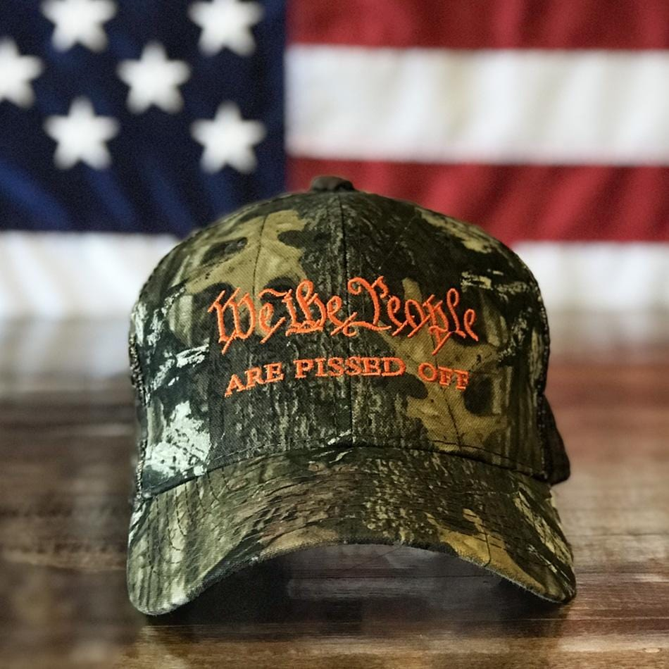 We The People Are Pissed Off American Patriot Mossy Oak Camo Hat (O)
