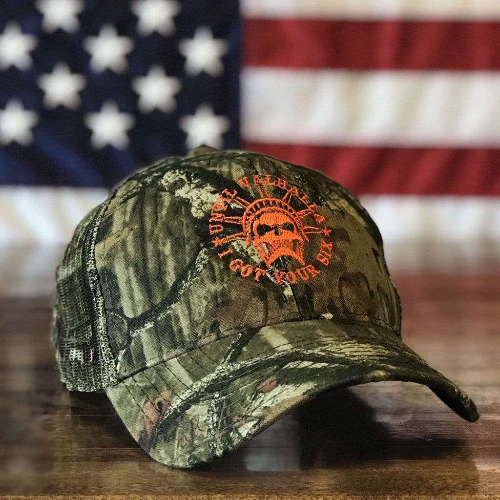 Until Valhalla I Got Your Six American Patriot Mossy Oak Camo Hat (O)
