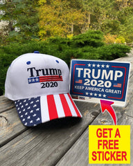 President Trump 2020 Premium White Hat ( Free Trump Sticker )