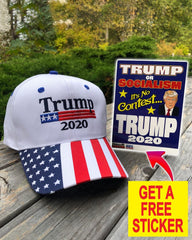 President Donald Trump 2020 Premium White Hat ( Free Trump Sticker )