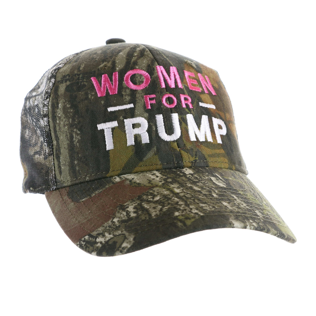 Women for Trump Mossy Oak Hat - Pink, White Font - Camo