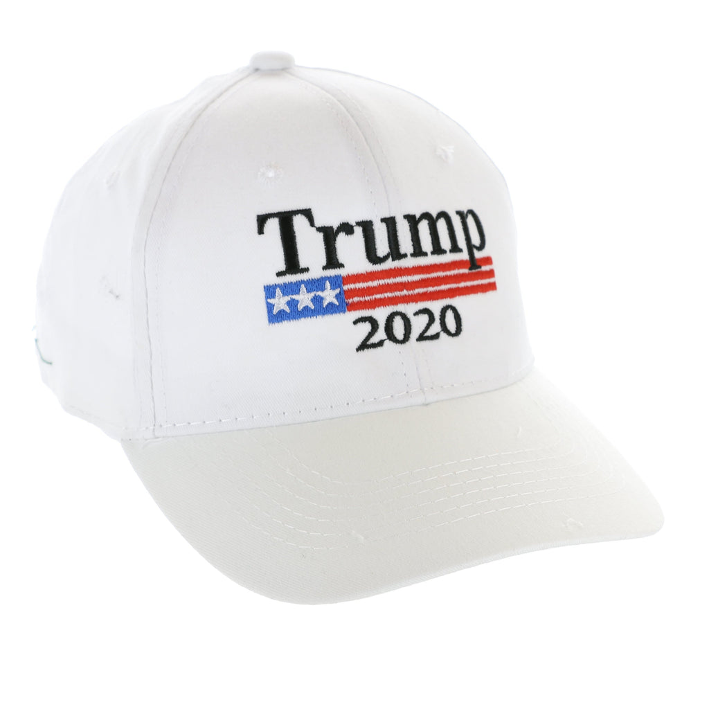 Trump 2020 Hat - American Flag Stripe - White