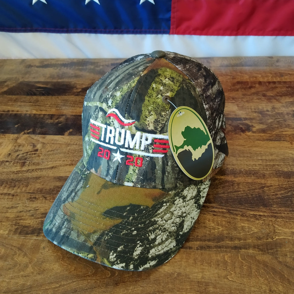 Trump 2020 Hat - Star in Middle, Red & White Embroidery - Camo