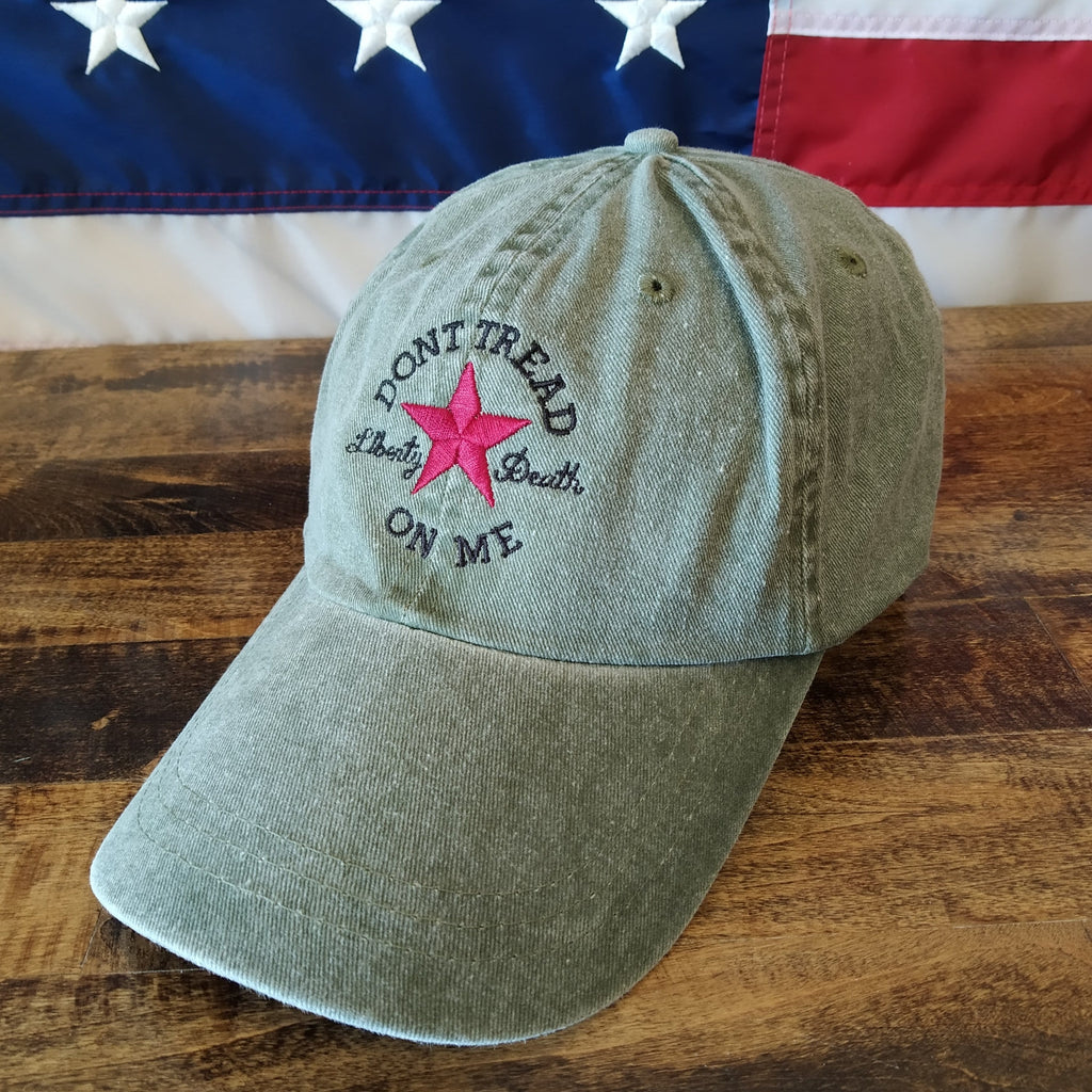 Dont Tread On Me Hat - Liberty or Death, Red Star - Green (O)