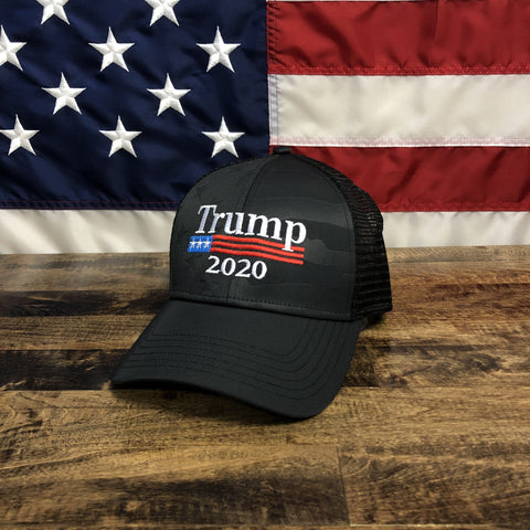Trump 2020 American Flag Black Authentic Hat