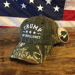 Trump No Bullshit Camo Embroidered Mossy Oak Hat